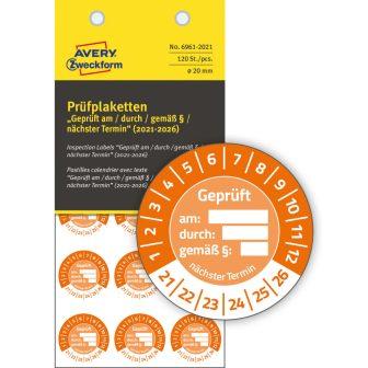 Avery Zweckform 6961-2021 biztonsági hitelesítő címke Geprüft am/durch/gemäß § felirattal