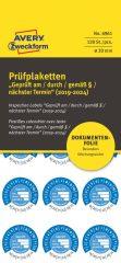 Avery Zweckform No. 6961 kék színű, 20 mm átmérőjű, öntapadós biztonsági hitelesítő címke, 2019-2024-es évszámmal, Geprüft am/durch/gemäß § felirattal - kiszerelés: 120 címke / csomag