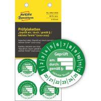Avery Zweckform No. 6962-2020 zöld színű, 30 mm átmérőjű, öntapadós biztonsági hitelesítő címke, 2020-2025-ös évszámmal, Geprüft am/durch/gemäß § felirattal - kiszerelés: 80 címke / csomag
