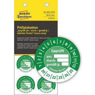 Avery Zweckform 6962-2020 biztonsági hitelesítő címke Geprüft am/durch/gemäß § felirattal