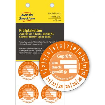 Avery Zweckform 6962-2021 biztonsági hitelesítő címke Geprüft am/durch/gemäß § felirattal