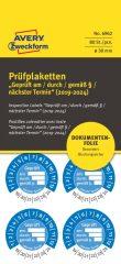 Avery Zweckform No. 6962 kék színű, 30 mm átmérőjű, öntapadós biztonsági hitelesítő címke, 2019-2024-es évszámmal, Geprüft am/durch/gemäß § felirattal - kiszerelés: 80 címke / csomag