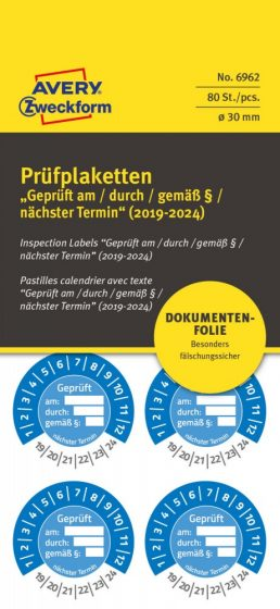 Avery Zweckform 6962 biztonsági hitelesítő címke Geprüft am/durch/gemäß § felirattal