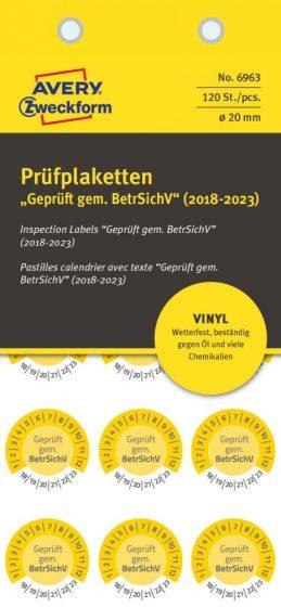 Avery Zweckform 6963 időjárásálló felülvizsgálati címke Geprüft gemäß BetrSichV felirattal