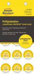 Avery Zweckform No. 6965 sárga színű, 20 mm átmérőjű, öntapadós biztonsági hitelesítő címke, 2018-2023-as évszámmal, Geprüft gemäß BetrSichV felirattal - kiszerelés: 120 címke / csomag