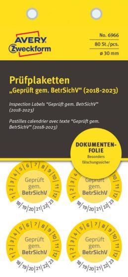 Avery Zweckform 6966 biztonsági hitelesítő címke Geprüft gemäß BetrSichV felirattal
