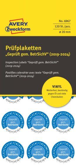 Avery Zweckform No. 6967 kék színű, 20 mm átmérőjű, öntapadós időjárásálló felülvizsgálati címke, 2019-2024-es évszámmal, Geprüft gemäß BetrSichV felirattal - kiszerelés: 120 címke / csomag