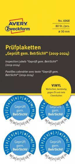 Avery Zweckform 6968 időjárásálló felülvizsgálati címke Geprüft gemäß BetrSichV felirattal