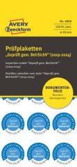Avery Zweckform No. 6969 kék színű, 20 mm átmérőjű, öntapadós biztonsági hitelesítő címke, 2019-2024-es évszámmal, Geprüft gemäß BetrSichV felirattal - kiszerelés: 120 címke / csomag