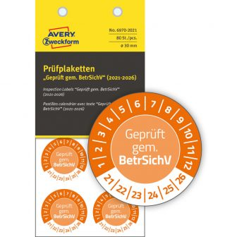Avery Zweckform 6970-2021 biztonsági hitelesítő címke Geprüft gemäß BetrSichV felirattal