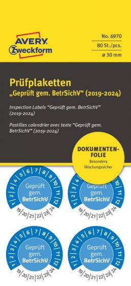 Avery Zweckform 6970 biztonsági hitelesítő címke Geprüft gemäß BetrSichV felirattal