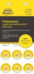 Avery Zweckform No. 6971 sárga színű, 20 mm átmérőjű, öntapadós időjárásálló felülvizsgálati címke, 2018-2023-as évszámmal, Geprüft nach DGUV Vorschrift 3 felirattal - kiszerelés: 120 címke / csomag