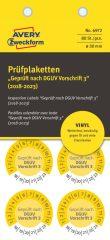 Avery Zweckform No. 6972 sárga színű, 30 mm átmérőjű, öntapadós időjárásálló felülvizsgálati címke, 2018-2023-as évszámmal, Geprüft nach DGUV Vorschrift 3 felirattal - kiszerelés: 80 címke / csomag