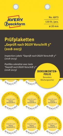 Avery Zweckform No. 6973 sárga színű, 20 mm átmérőjű, öntapadós biztonsági hitelesítő címke, 2018-2023-as évszámmal, Geprüft nach DGUV Vorschrift 3 felirattal - kiszerelés: 120 címke / csomag