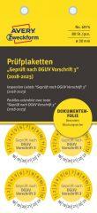 Avery Zweckform No. 6974 sárga színű, 30 mm átmérőjű, öntapadós biztonsági hitelesítő címke, 2018-2023-as évszámmal, Geprüft nach DGUV Vorschrift 3 felirattal - kiszerelés: 80 címke / csomag