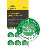 Avery Zweckform No. 6975-2020 zöld színű, 20 mm átmérőjű, öntapadós időjárásálló felülvizsgálati címke, 2020-2025-ös évszámmal, Geprüft nach DGUV Vorschrift 3 felirattal - kiszerelés: 120 címke / csomag