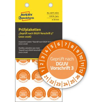 Avery Zweckform 6975-2021 felülvizsgálati címke Geprüft nach DGUV Vorschrift 3 felirattal