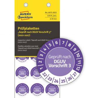 Avery Zweckform 6975-2022 felülvizsgálati címke Geprüft nach DGUV Vorschrift 3 felirattal
