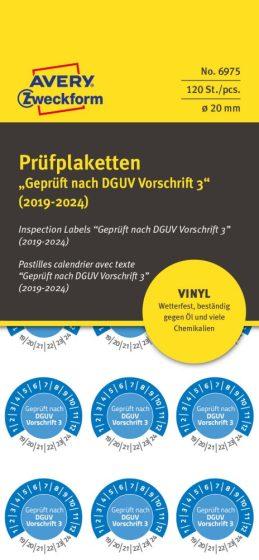 Avery Zweckform No. 6975 kék színű, 20 mm átmérőjű, öntapadós időjárásálló felülvizsgálati címke, 2019-2024-es évszámmal, Geprüft nach DGUV Vorschrift 3 felirattal - kiszerelés: 120 címke / csomag