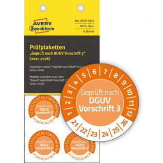 Avery Zweckform 6976-2021 felülvizsgálati címke Geprüft nach DGUV Vorschrift 3 felirattal