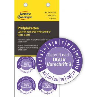 Avery Zweckform 6976-2022 felülvizsgálati címke Geprüft nach DGUV Vorschrift 3 felirattal