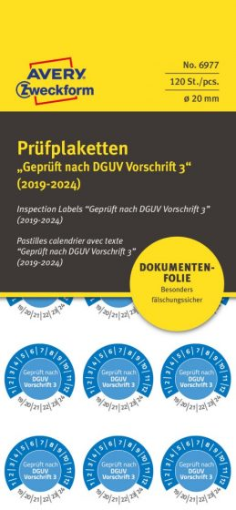 Avery Zweckform 6977 biztonsági hitelesítő címke Geprüft nach DGUV Vorschrift 3 felirattal