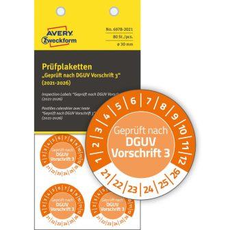 Avery Zweckform 6978-2021 biztonsági hitelesítő címke Geprüft nach DGUV Vorschrift 3 felirattal