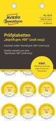 Avery Zweckform No. 6979 sárga színű, 20 mm átmérőjű, öntapadós időjárásálló felülvizsgálati címke, 2018-2023-as évszámmal, Geprüft gemäß VDE felirattal - kiszerelés: 120 címke / csomag