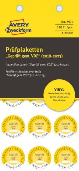 Avery Zweckform 6979 időjárásálló felülvizsgálati címke Geprüft gemäß VDE felirattal