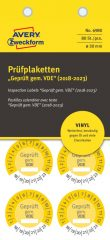 Avery Zweckform No. 6980 sárga színű, 30 mm átmérőjű, öntapadós időjárásálló felülvizsgálati címke, 2018-2023-as évszámmal, Geprüft gemäß VDE felirattal - kiszerelés: 80 címke / csomag