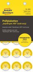 Avery Zweckform No. 6981 sárga színű, 20 mm átmérőjű, öntapadós biztonsági hitelesítő címke, 2018-2023-as évszámmal, Geprüft gemäß VDE felirattal - kiszerelés: 120 címke / csomag