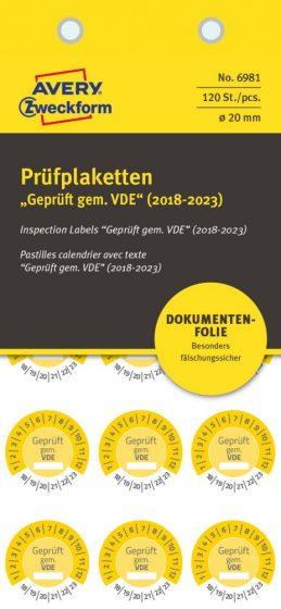 Avery Zweckform 6981 biztonsági hitelesítő címke Geprüft gemäß VDE felirattal