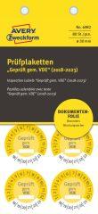 Avery Zweckform No. 6982 sárga színű, 30 mm átmérőjű, öntapadós biztonsági hitelesítő címke, 2018-2023-as évszámmal, Geprüft gemäß VDE felirattal - kiszerelés: 80 címke / csomag