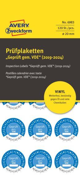 Avery Zweckform 6983 időjárásálló felülvizsgálati címke Geprüft gemäß VDE felirattal