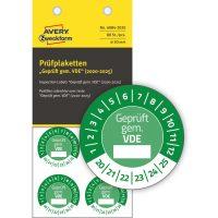 Avery Zweckform No. 6984-2020 zöld színű, 30 mm átmérőjű, öntapadós időjárásálló felülvizsgálati címke, 2020-2025-ös évszámmal, Geprüft gemäß VDE felirattal - kiszerelés: 80 címke / csomag