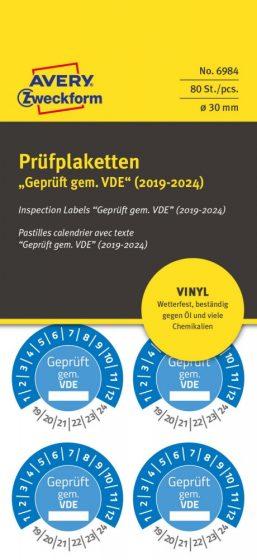 Avery Zweckform No. 6984 kék színű, 30 mm átmérőjű, öntapadós időjárásálló felülvizsgálati címke, 2019-2024-es évszámmal, Geprüft gemäß VDE felirattal - kiszerelés: 80 címke / csomag