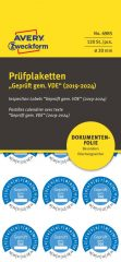 Avery Zweckform No. 6985 kék színű, 20 mm átmérőjű, öntapadós biztonsági hitelesítő címke, 2019-2024-es évszámmal, Geprüft gemäß VDE felirattal - kiszerelés: 120 címke / csomag