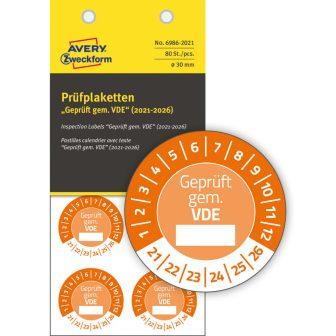 Avery Zweckform 6986-2021 biztonsági hitelesítő címke Geprüft gemäß VDE felirattal