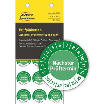 Avery Zweckform 6987-2020 időjárásálló felülvizsgálati címke Nächster Prüftermin felirattal