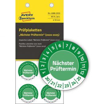 Avery Zweckform No. 6988-2020 zöld színű, 30 mm átmérőjű, öntapadós időjárásálló felülvizsgálati címke, 2020-2025-ös évszámmal, Nächster Prüftermin felirattal - kiszerelés: 80 címke / csomag