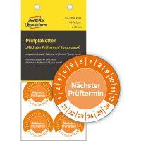 Avery Zweckform No. 6988-2021 narancssárga színű, 30 mm átmérőjű, öntapadós időjárásálló felülvizsgálati címke, 2021-2026-os évszámmal, Nächster Prüftermin felirattal - kiszerelés: 80 címke / csomag