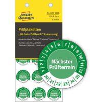 Avery Zweckform No. 6989-2020 zöld színű, 20 mm átmérőjű, öntapadós biztonsági hitelesítő címke, 2020-2025-ös évszámmal, Nächster Prüftermin felirattal - kiszerelés: 120 címke / csomag