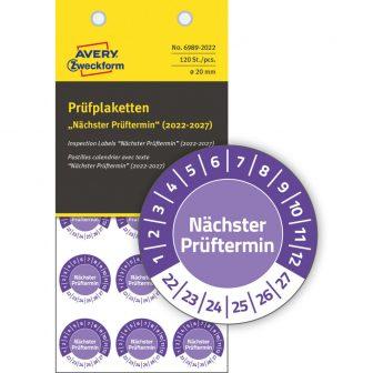 Avery Zweckform 6989-2022 biztonsági hitelesítő címke Nächster Prüftermin felirattal