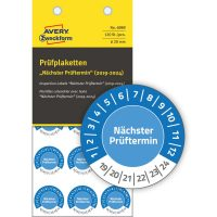 Avery Zweckform No. 6989 kék színű, 20 mm átmérőjű, öntapadós biztonsági hitelesítő címke, 2019-2024-es évszámmal, Nächster Prüftermin felirattal - kiszerelés: 120 címke / csomag