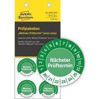 Avery Zweckform No. 6990-2020 zöld színű, 30 mm átmérőjű, öntapadós biztonsági hitelesítő címke, 2020-2025-ös évszámmal, Nächster Prüftermin felirattal - kiszerelés: 80 címke / csomag