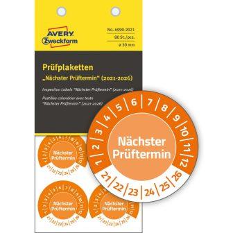 Avery Zweckform 6990-2021 biztonsági hitelesítő címke Nächster Prüftermin felirattal