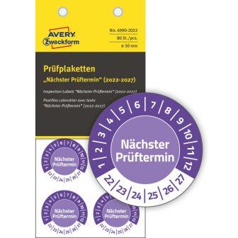 Avery Zweckform 6990-2022 biztonsági hitelesítő címke Nächster Prüftermin felirattal