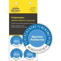 Avery Zweckform No. 6990 kék színű, 30 mm átmérőjű, öntapadós biztonsági hitelesítő címke, 2019-2024-es évszámmal, Nächster Prüftermin felirattal - kiszerelés: 80 címke / csomag