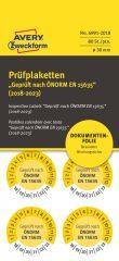 Avery Zweckform No. 6991-2018 sárga színű, 30 mm átmérőjű, öntapadós biztonsági hitelesítő címke, 2018-2023-as évszámmal, ÖNORM EN 15635 felirattal - kiszerelés: 80 címke / csomag