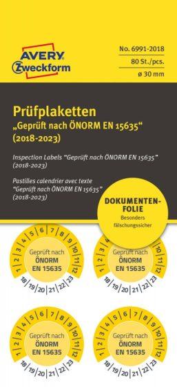 Avery Zweckform 6991-2018 biztonsági hitelesítő címke ÖNORM EN 15635 felirattal